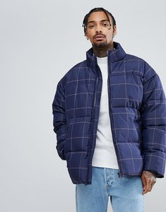 Read more about Asos oversized checked puffer jacket in navy - navy