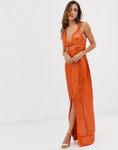 Read more about Asos design embellished sequin maxi dress with ladder trim