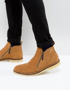 Read more about Kg kurt geiger otis suede zip boots in tan - tan