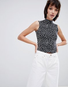 Read more about Monki jersey printed sleeveless high crop top - black