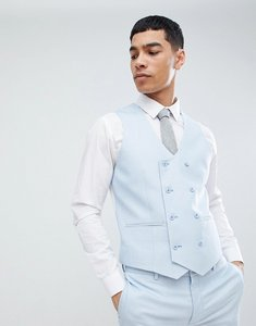 Read more about Asos design wedding super skinny suit waistcoat in ice blue micro texture - blue