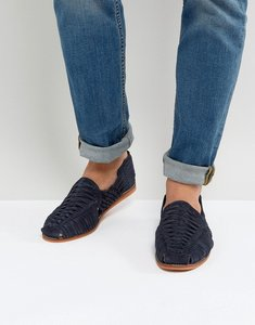Read more about Asos woven sandals in navy suede - navy
