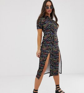 Read more about Rokoko midi length bodycon dress in dragon print with thigh split