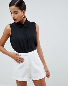 Read more about Asos design sleeveless soft shirt - black