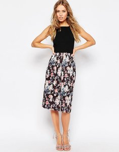 Read more about Asos midi dress with pleated skirt in floral print - multi
