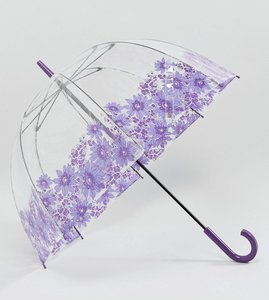 Read more about Fulton birdcage 2 purple gerbera umbrella - purple clear