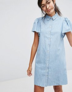 Read more about Bershka button front denim dress - blue