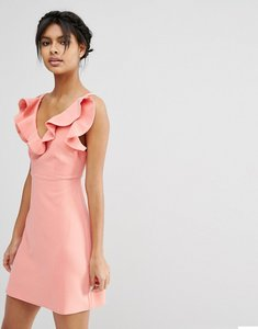 Read more about Asos structured frill a-line mini dress - coral