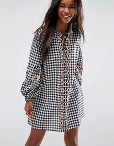 Read more about Asos long sleeve embroidered dress in gingham - multi