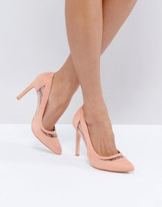Read more about Glamorous pink mesh insert court shoes - pink micro