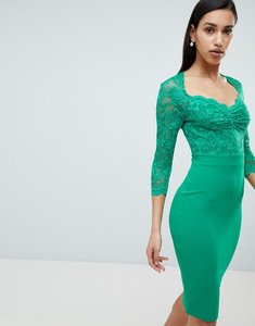 Read more about City goddess 3 4 sleeve lace midi dress - green