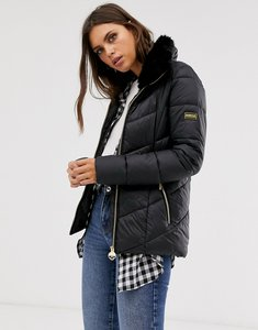 Read more about Barbour international nurburg chevron quilted jacket with detachable faux fur collar