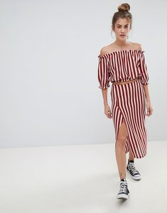 Read more about Pull bear stripe co-ord midi skirt in multi - multi