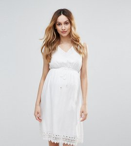 Read more about Mamalicious woven skater dress with crochet trim - white