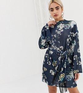 Read more about Asos petite kimono sleeve bird print mini dress with self fringe belt