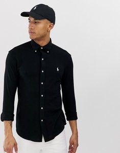 Read more about Polo ralph lauren slim fit pique shirt with button down collar in black
