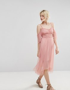Read more about Miss selfridge mesh cold shoulder dress - pink