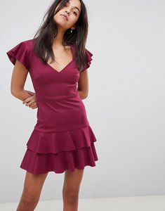 Read more about Asos scuba mini v neck dress with ruffles - deep plum