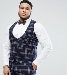 Read more about Asos design plus wedding super skinny suit waistcoat in navy waffle check - navy
