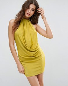 Read more about Asos twist neck slinky bodycon dress - chartreuse