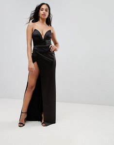 Read more about Club l plunge front bandeau maxi dress with thigh split - black