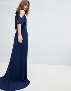 Read more about Tfnc high neck maxi bridesmaid dress with fishtail - navy