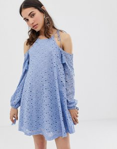 Read more about J o a swing dress with cold shoulders and tassel ties in lace - blue