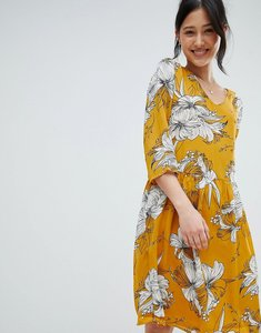 Read more about Ichi printed v neck dress - golden yellow