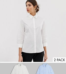 43ef37848b Read more about Asos design 3 4 sleeve shirt in stretch cotton 2 pack - blue