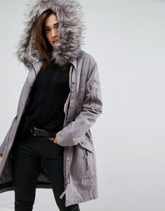 Read more about Asos parka with detachable faux fur liner - grey