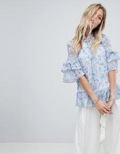 Read more about Forever new layered blouse in floral print - vintage blue floral
