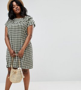 Read more about Asos curve gingham frill shift dress - green