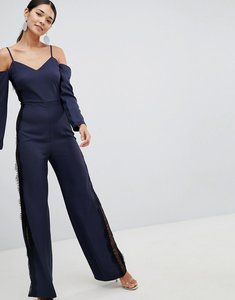 Read more about Asos jumpsuit with cold shoulder and lace side detail - navy