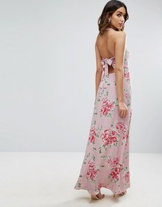 Read more about Asos maxi dress with open back in floral print - multi