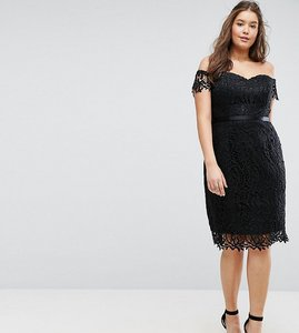 Read more about Chi chi london plus lace bandeau midi dress with sweetheart neck - black
