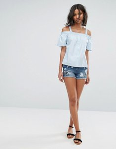 Read more about Only embroidered denim shorts - dark blue denim