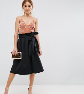 Read more about Asos petite scuba prom skirt with paperbag waist - black