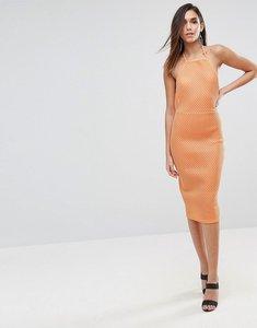 Read more about Asos bonded mesh scuba midi bodycon dress - orange