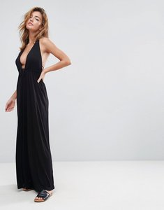Read more about Asos design tie front plunge jersey maxi beach dress - black