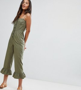 Read more about Asos design tall cotton frill hem jumpsuit with square neck and button detail - khaki