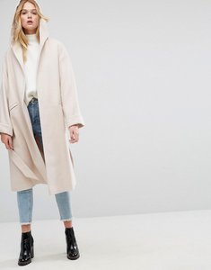 Read more about Asos hooded belted shawl collar coat - pink