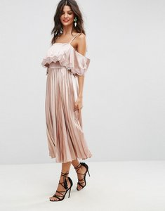 Read more about Asos satin pleated cami lace trim crop top midi dress - nude