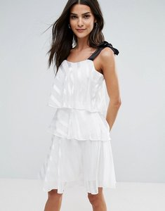 Read more about Miss selfridge tiered tie strap mini dress - ivory