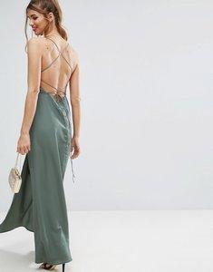 Read more about Asos plunge strap back maxi dress - khaki