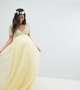 a723ac1d Read more about Maya maternity cap sleeve delicate sequin detail tulle maxi  dress - lemon