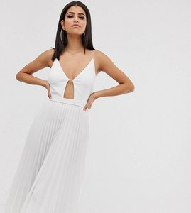 Read more about Asos design tall minimal pleated midi dress with gold bar detail