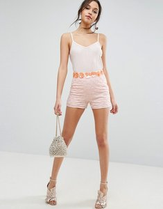 Read more about Asos cluster floral embellished occasion shorts - nude