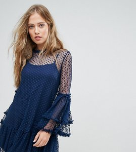 Read more about Lace bead high neck swing dress in spot mesh - navy