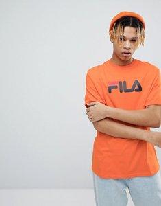 Read more about Fila black line t-shirt with retro logo in orange - orange