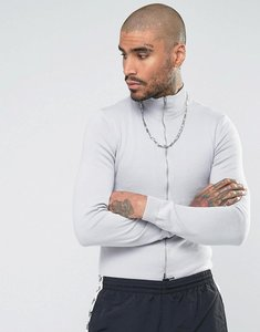 Read more about Asos cotton track jacket in light grey - grey